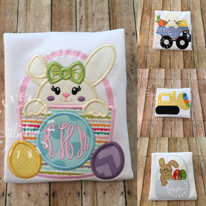 Bunny Basket Monogram Girl Design