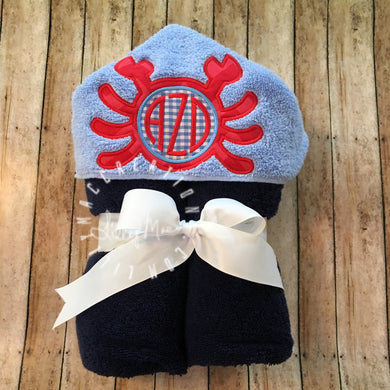 Crab Monogram Hooded Towel