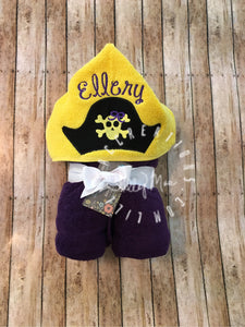 Pirate Hat with Bow Hooded Towel