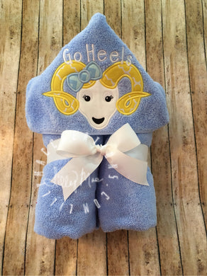 Ram with Bow Hooded Towel