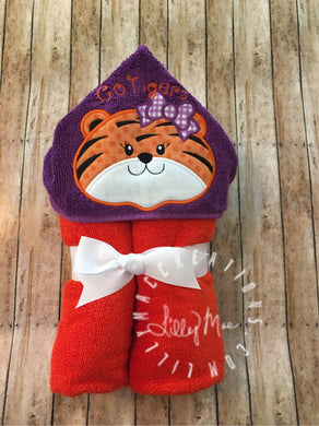 Tiger with Bow Hooded Towel