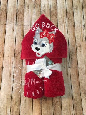 Wolf with Bow Hooded Towel