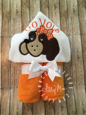 Hound Dog with Bow Hooded Towel