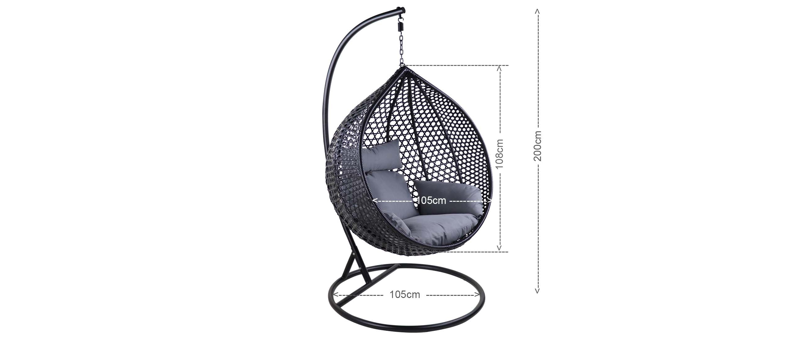 Catania Cocoon Swing Chair Grey Cushion (OPEN BOX)