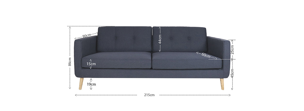 Eddie 3 Seater Sofa, Light Grey