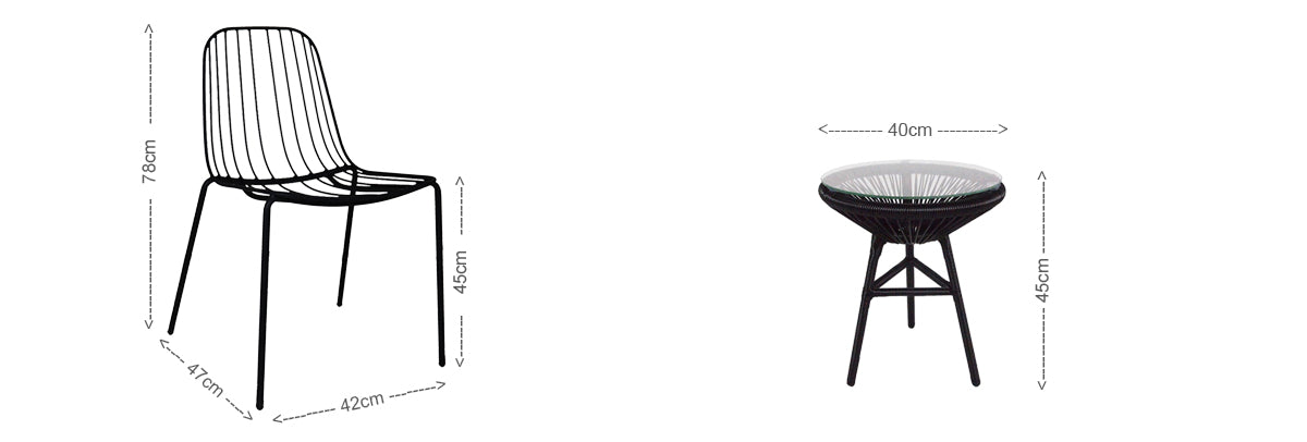 Flore 1 Seater Black Bistro Chair