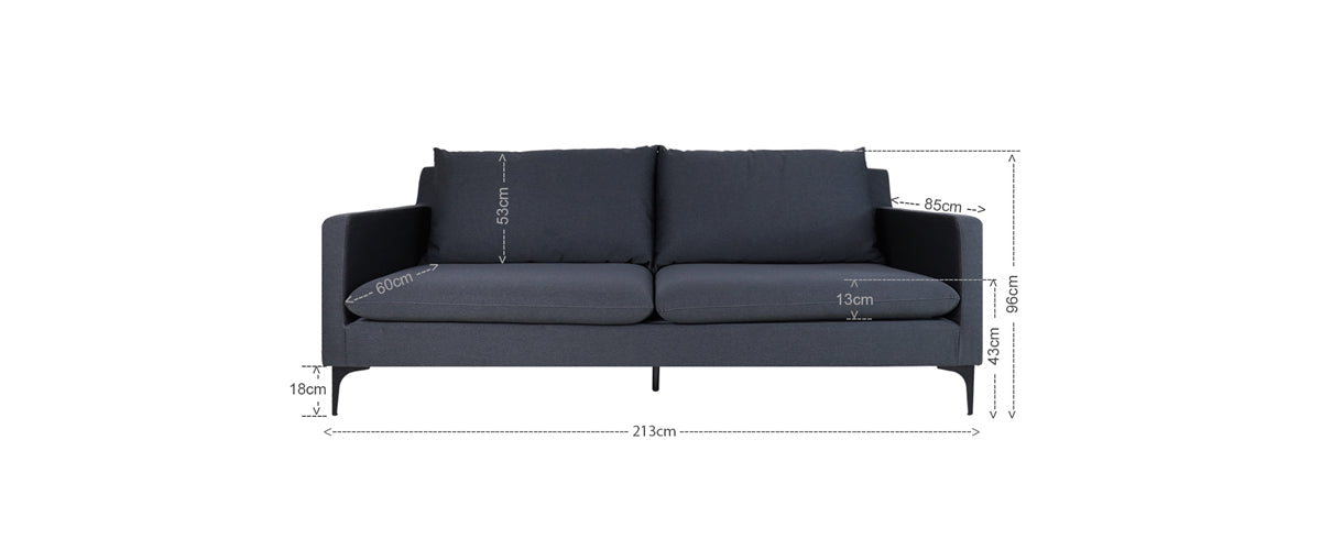 Hayley 3 Seater Sofa, Light Grey