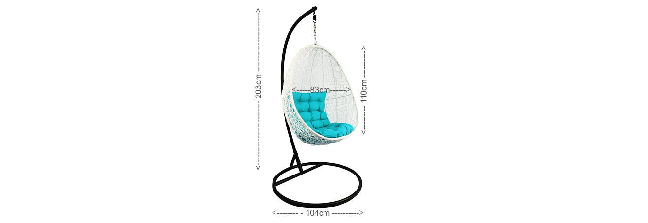 White Cocoon Swing Chair Blue Cushion
