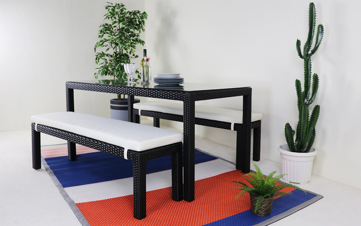 Outdoor dining set with benches