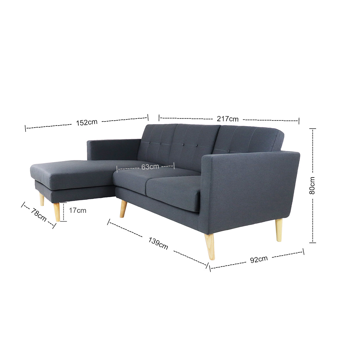 Eddie L Shape Sofa - Right When Seated Dark Grey (OPEN BOX)