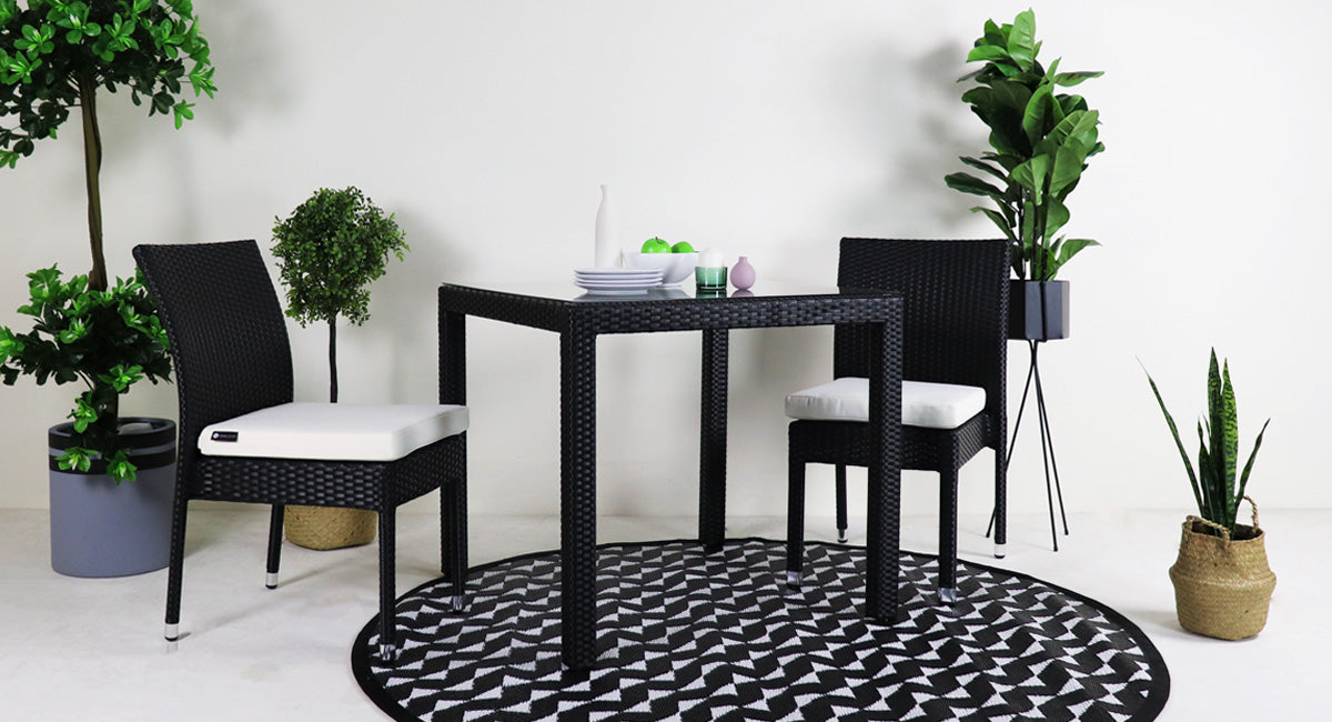 patio dining set with two chairs