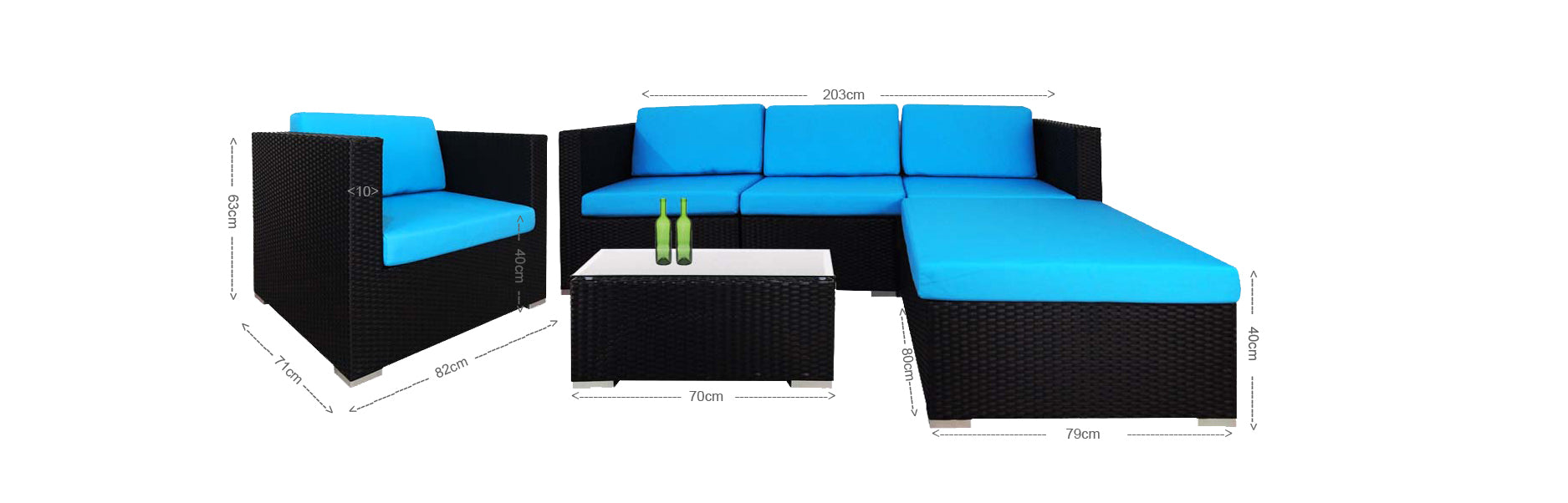 Summer Modular Sofa Set II Blue Cushions