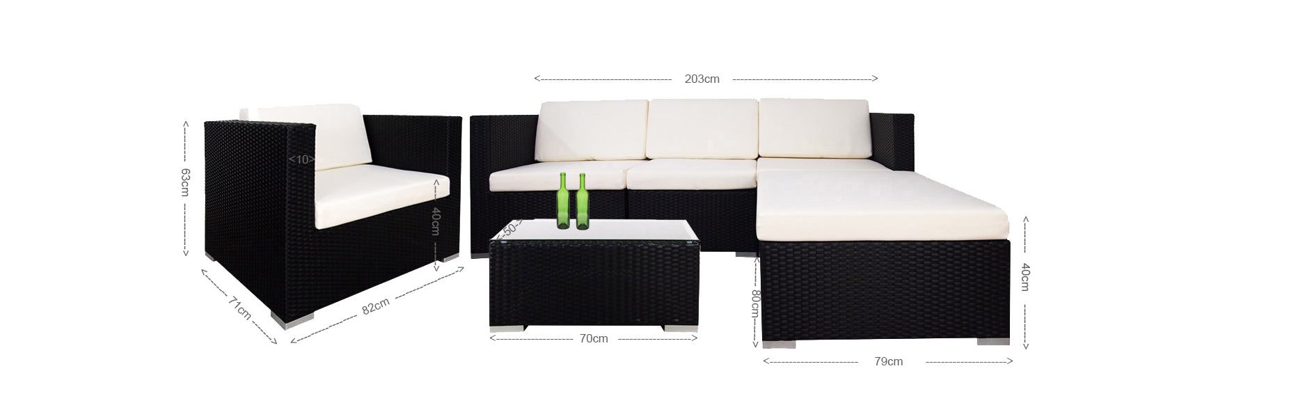 Summer Modular Sofa Set I White Cushion