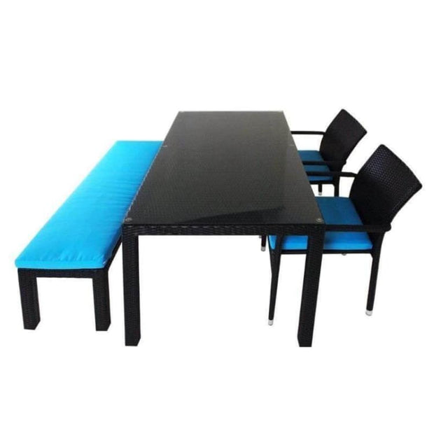 This is a product image of Addison 4 Pcs Dining Set Blue Cushions. It can be used as an Outdoor Furniture.