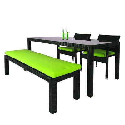 This is a product image of Addison 4 Pcs Dining Set Green Cushions. It can be used as an Outdoor Furniture.