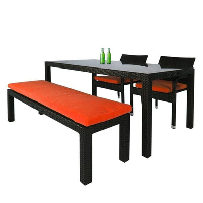 This is a product image of Addison 4 Pcs Dining Set Orange Cushions. It can be used as an Outdoor Furniture.