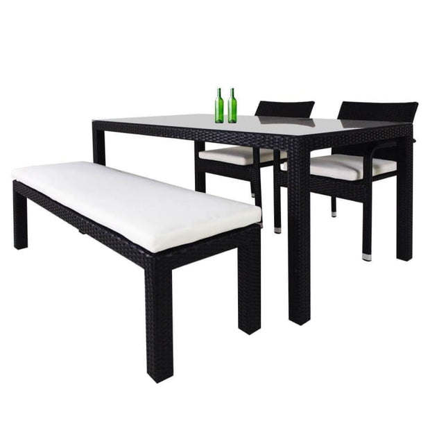 This is a product image of Addison 4 Pcs Dining Set White Cushions. It can be used as an Outdoor Furniture.