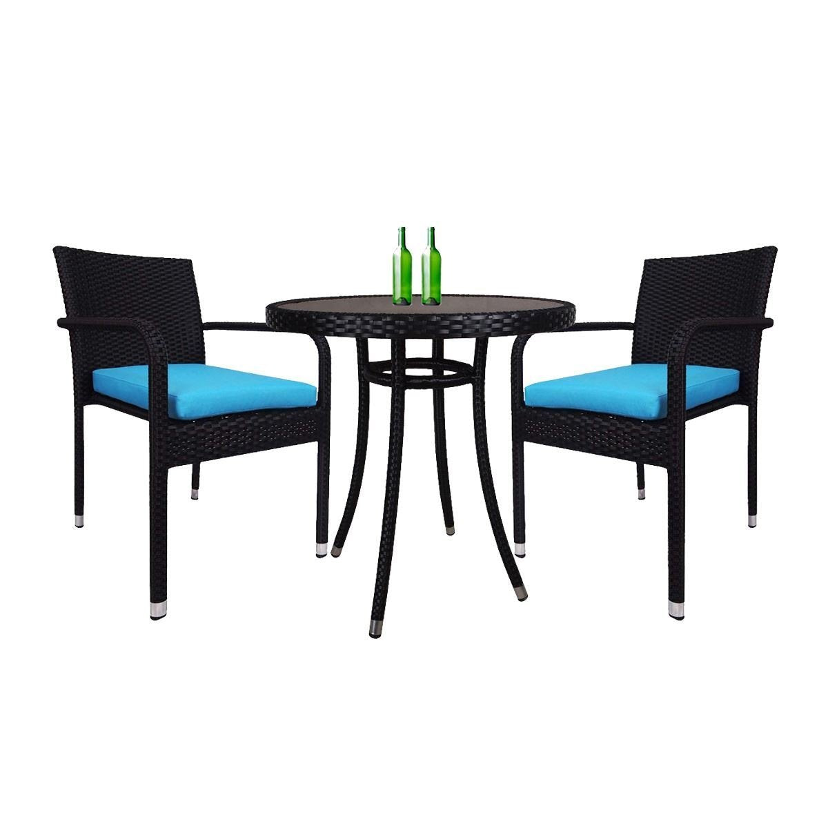 Balcony 2 Chair Bistro Set, Blue Cushion