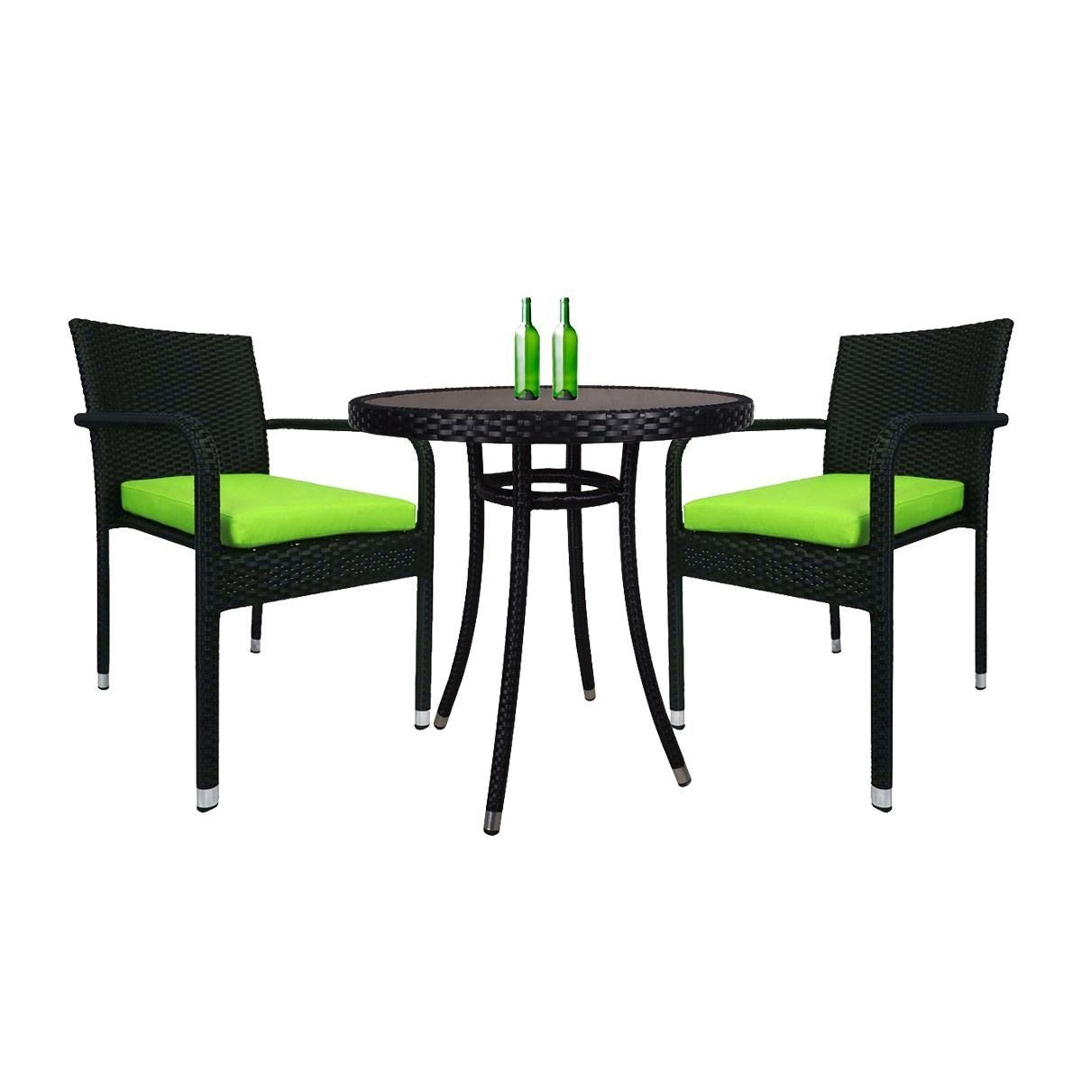 Balcony 2 Chair Bistro Set, Green Cushion