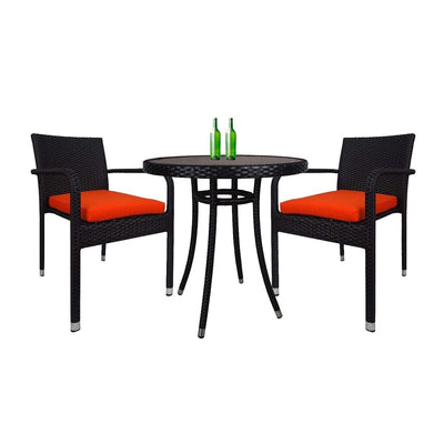 Balcony 2 Chair Bistro Set Orange Cushion - Outdoor