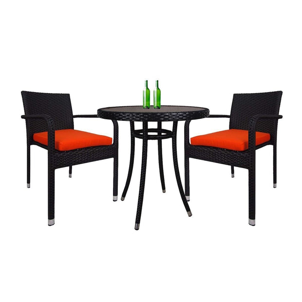 This is a product image of Balcony 2 Chair Bistro Set Orange Cushion. It can be used as an Outdoor Furniture.