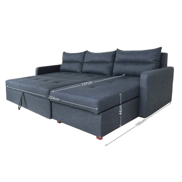 Belgrove Sofabed L Shape-Rest Section on LEFT Side when Seated (Grey)