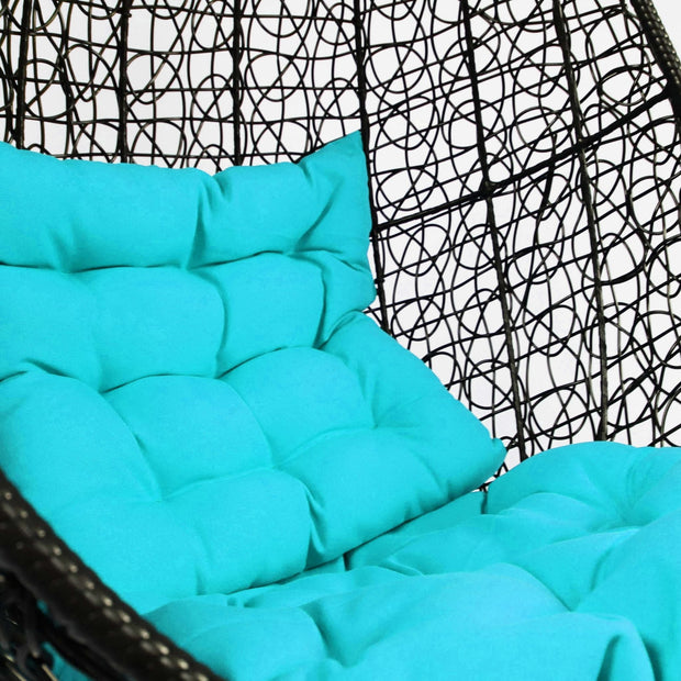 Black Cocoon Swing Chair Blue Cushion - Outdoor