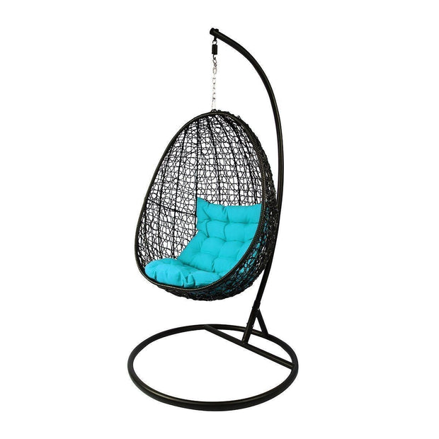 This is a product image of Black Cocoon Swing Chair Blue Cushion. It can be used as an Outdoor Furniture.