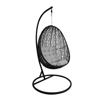 This is a product image of Black Cocoon Swing Chair Grey Cushion. It can be used as an Outdoor Furniture.