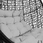 Black Cocoon Swing Chair Grey Cushion - Outdoor