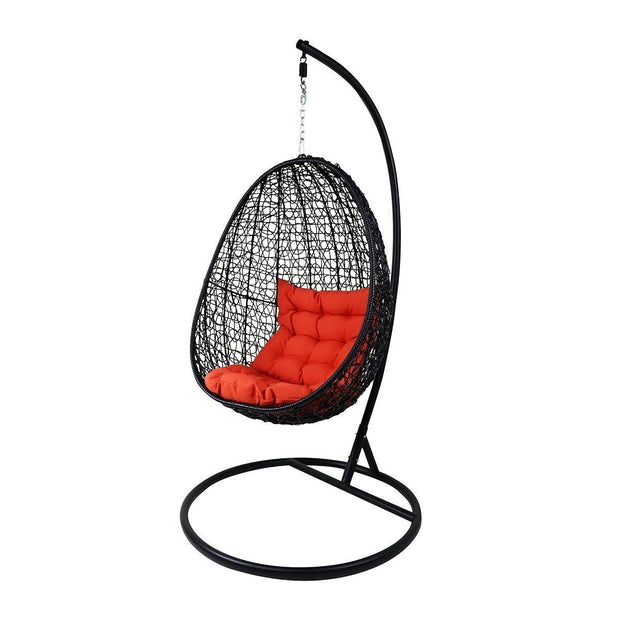 This is a product image of Black Cocoon Swing Chair Orange Cushion. It can be used as an Outdoor Furniture.