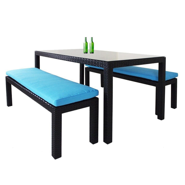 Bondi 3 Pcs Dining Set Blue Cushion - Outdoor