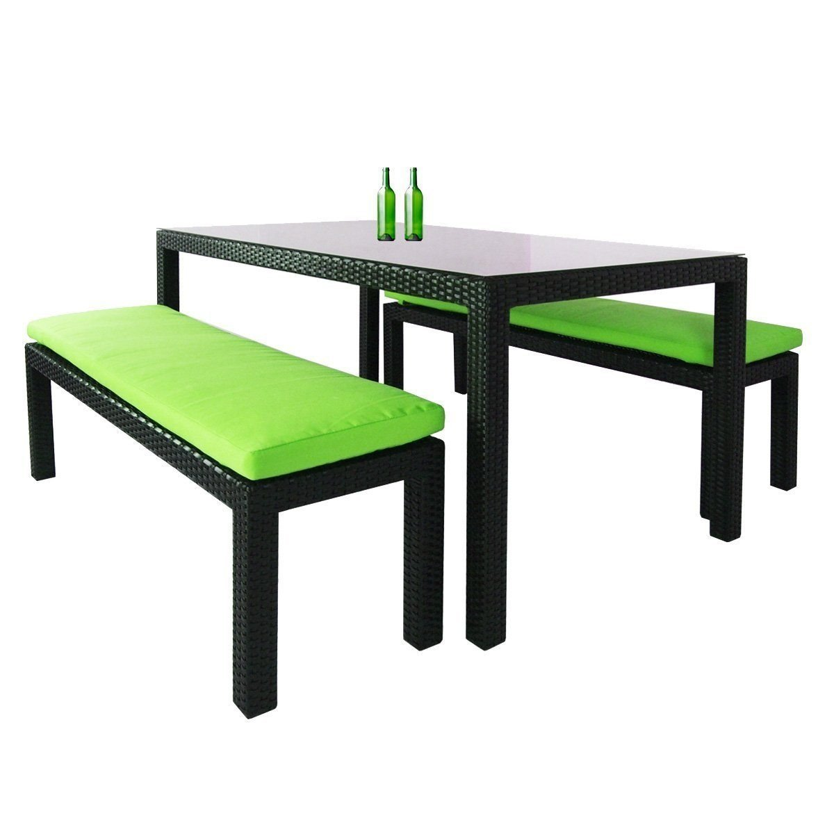 Bondi 3 Pcs Dining Set, Green Cushion