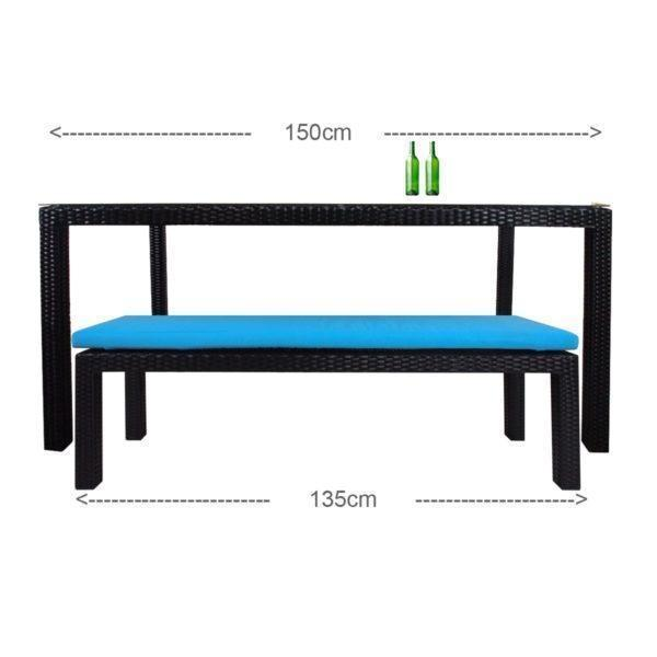 Bondi Outdoor Bench Blue Cushion - Outdoor