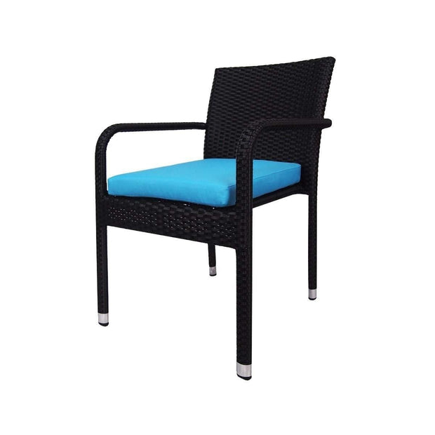 This is a product image of Boulevard 4 Chair Dining Set Blue Cushions. It can be used as an Outdoor Furniture.