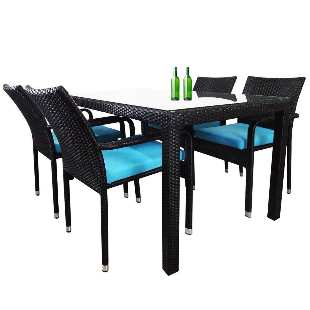 Boulevard 4 Chair Dining Set, Blue Cushions