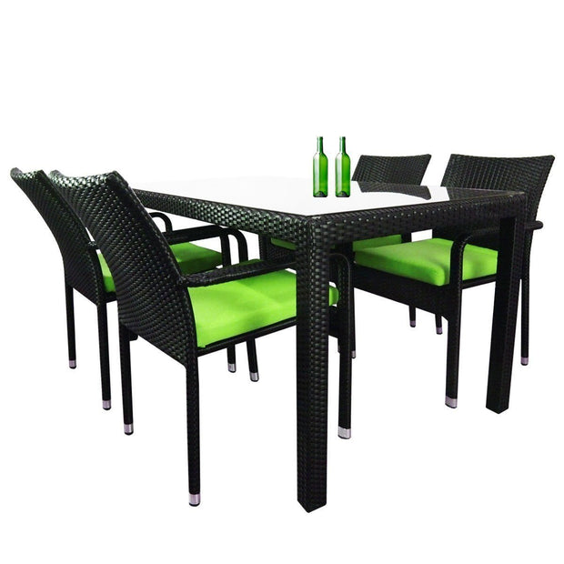 Boulevard 4 Chair Dining Green Cushions - Outdoor