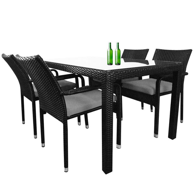 Boulevard 4 Chair Dining Grey Cushions - Outdoor