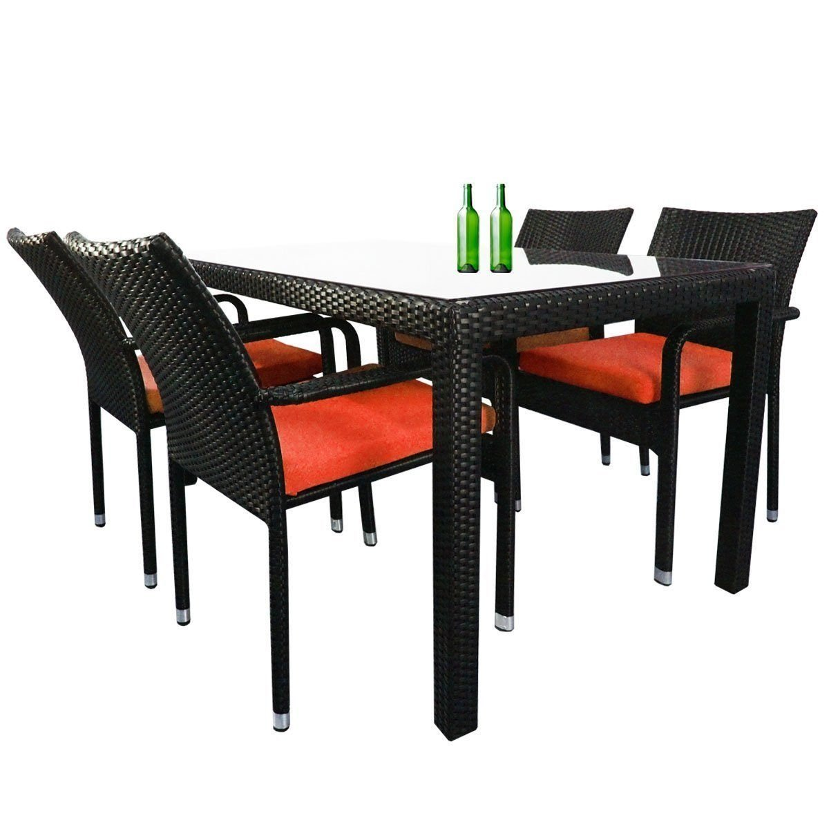 Boulevard 4 Chair Dining Set, Orange Cushions