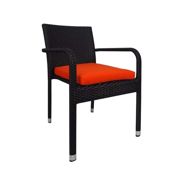 This is a product image of Boulevard 4 Chair Dining Set Orange Cushions. It can be used as an Outdoor Furniture.