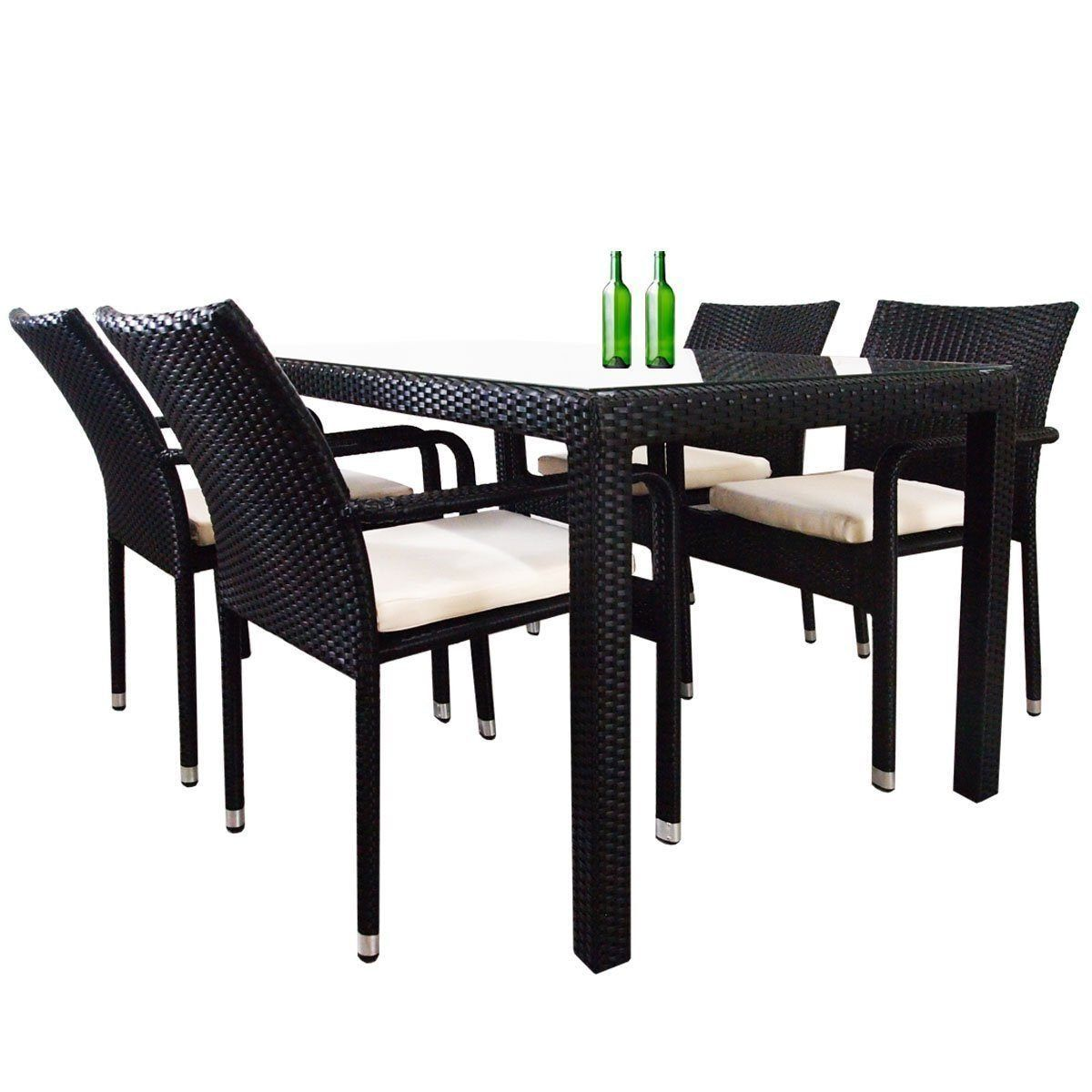 Boulevard 4 Chair Dining Set, White Cushions