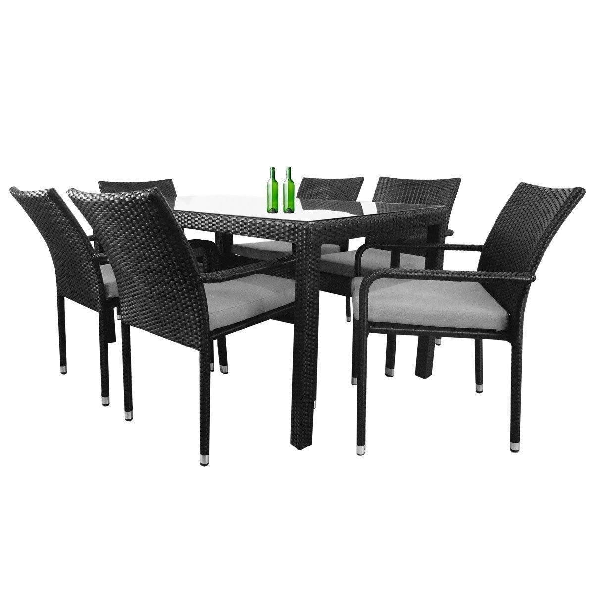 Boulevard 6 Chair Dining Set, Grey Cushions