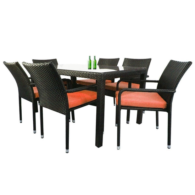 Boulevard 6 Chair Dining Orange Cushions - Outdoor
