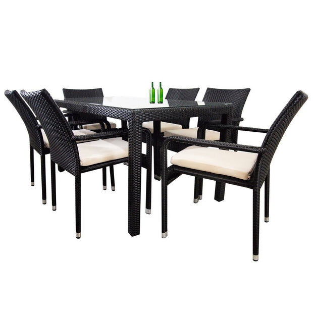 Boulevard 6 Chair Dining White Cushions - Outdoor