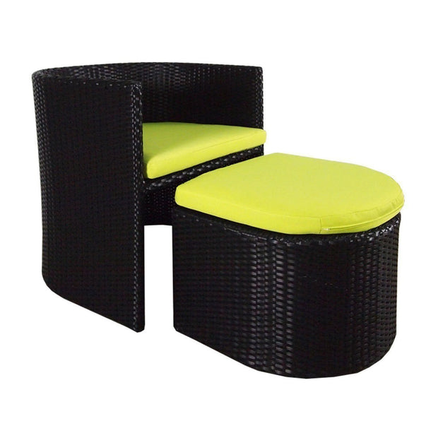 This is a product image of Caribbean 1 Armchair + 1 Ottoman Green Cushion. It can be used as an Outdoor Furniture.
