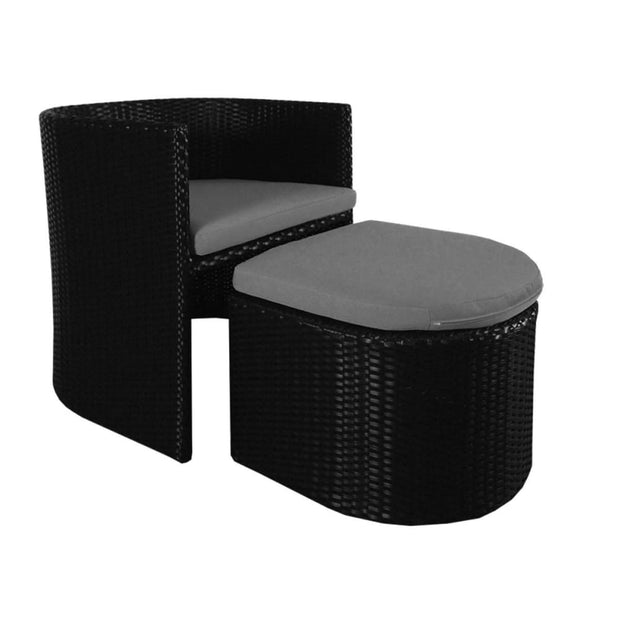Caribbean 1 Armchair + 1 Ottoman Patio Set Grey Cushion - Outdoor