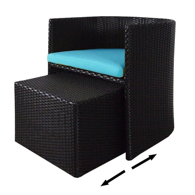 This is a product image of Caribbean 1 Chair + 1 Ottoman Set Blue Cushion. It can be used as an Outdoor Furniture.