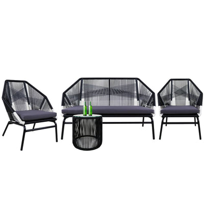 Catania 2+1+1 Seater Set Grey Cushions - Outdoor