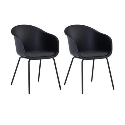 Colleen Dining Chair in Black & Paloma Cushion Set of 2