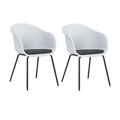 Colleen Dining Chair in White & Paloma Cushion Set of 2